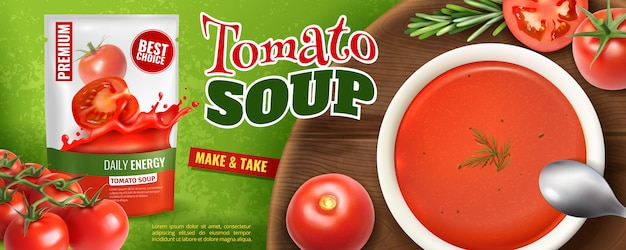 Realistic tomato soup advertising  with branded packaging and wooden board with plate filled with soup