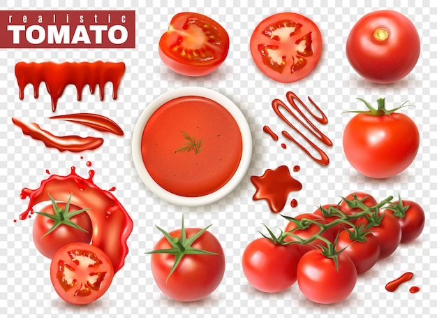 Realistic tomato on transparent  set with isolated images of whole fruits slices splashes of juice