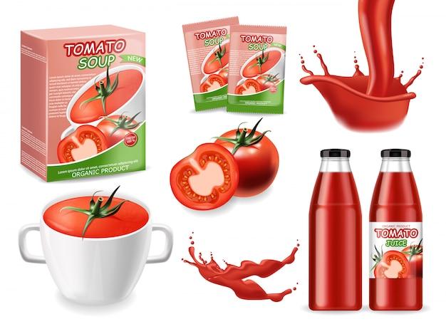 現実的なトマト製品、トマトスープ、ケチャップ、スプラッシュソースとトマト、大きなセット自然食品、パッケージイラスト
