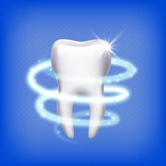 Realistic tooth. isolated shining 3d teeth. dental health care, clean molar. stomatology icon, protection  illustration. tooth healthy, dental medicine health
