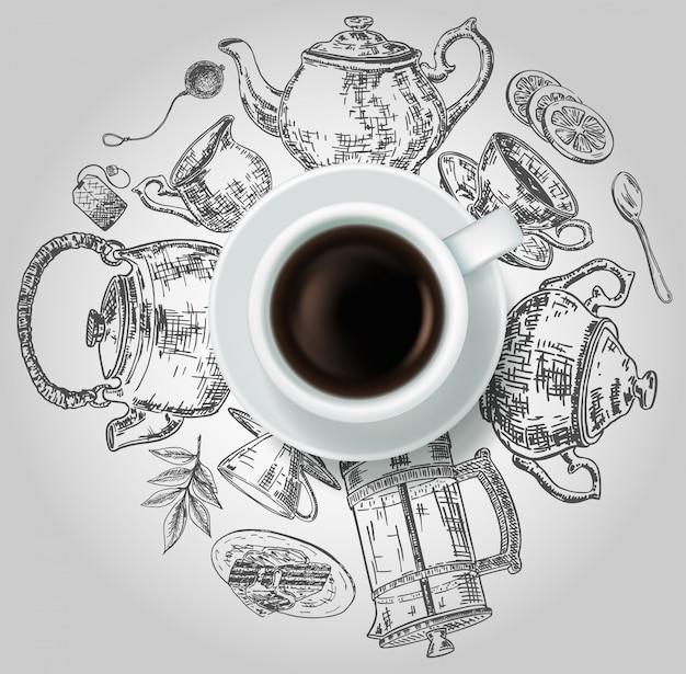 Realistic top view cup of black tea with hand drawn doodle tea items around it.