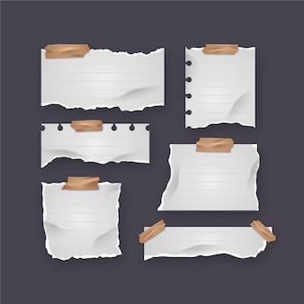 リアルな破れた紙のコレクション