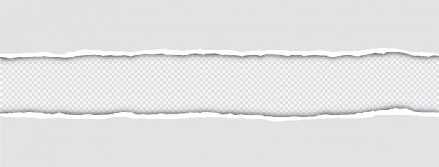Реалистичные рваные края бумаги с тенью на прозрачном