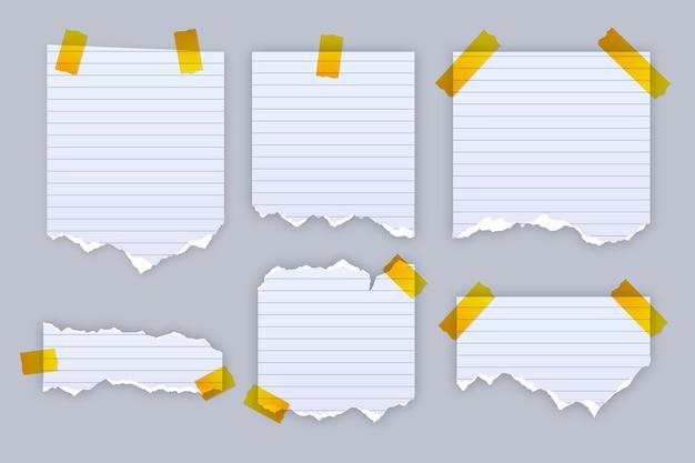 Реалистичный набор рваной бумаги