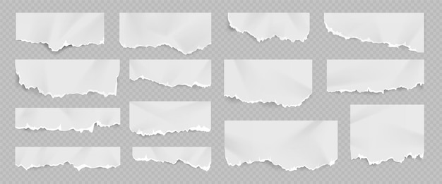 Realistic torn and ripped white paper sheet with folds. notebook page with scrap edge. rip blank document pieces and note shreds vector set. damaged and cracked fragments for notices