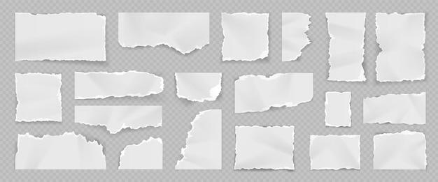 リアルな破れた白い紙片、裂け目、スクラップ、ストライプ。ノートブックの空白のティアページ。細断されたシートの正方形。不規則なメモ用紙ベクトルセット。さまざまな形の空の断片と断片