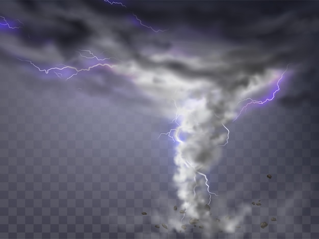 Realistic tornado with lightnings, destructive hurricane isolated on transparent background.