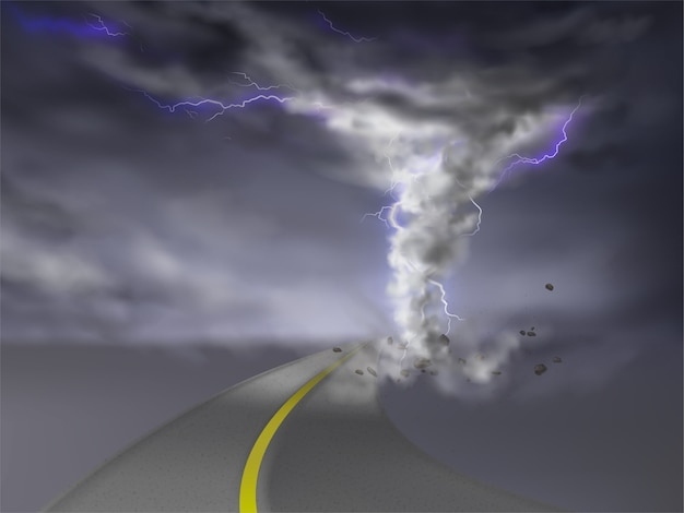 Realistic tornado with lightnings, gray hurricane on highway, isolated on transparent backgro