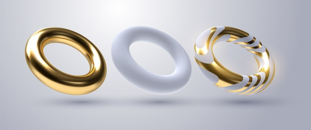 Realistic torus shapes.   geometric illustration. 3d golden and white rings collection. geometric primitives