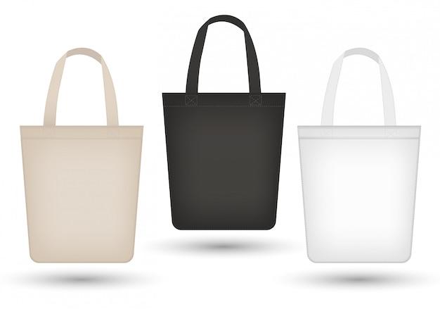 リアルなトートバッグセット。生地、キャンバス、ショッピングバッグバッグコレクション、ブラック、ベージュ。白い背景の上。製品のモスクアップ。図。