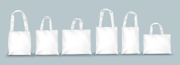 Realistic tote bags design set