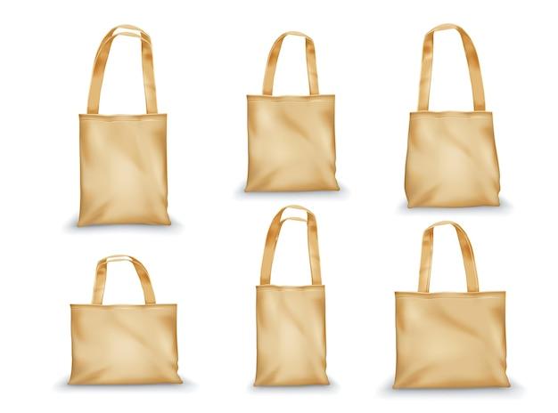 Set di design di borse tote realistiche