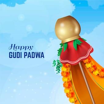 Realistic traditional gudi padwa banner