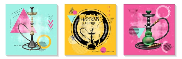 Realistic traditional hookah cards set with classic hookahs of different shapes on trendy geometrics illustration