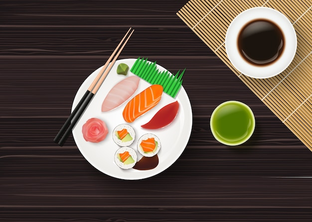 Realistic traditional japanese sushi on wooden table