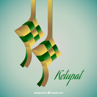 Realistic traditional ketupat composition