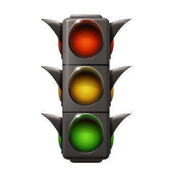 Realistic traffic light isolated on white