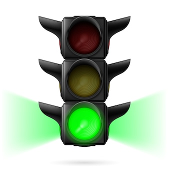 Realistic traffic lights with green color on and sidelight. illustration on white background
