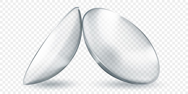 Realistic translucent contact lenses in gray color, isolated on transparent background