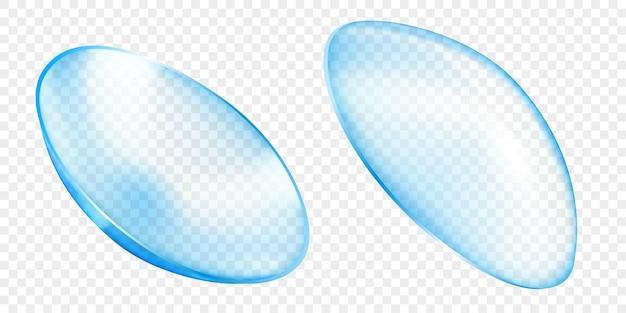 투명한 배경에 격리된 밝은 파란색의 사실적인 반투명 콘택트 렌즈