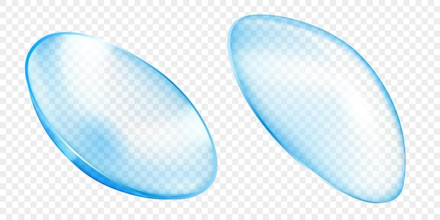 Realistic translucent contact lenses in light blue color, isolated on transparent background