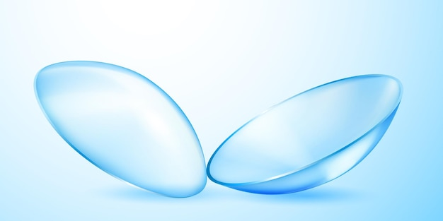 Realistic translucent contact lenses in light blue color with shadows
