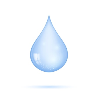 Realistic transparent blue shiny drop of water isolated on white background