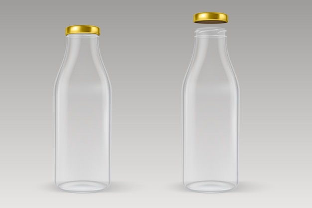 Realistic transparent closed and open empty glass milk bottle set with golden lid closeup isolated on grey background.