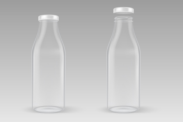 Realistic transparent closed and open empty glass milk bottle set with white lid closeup isolated on grey background.