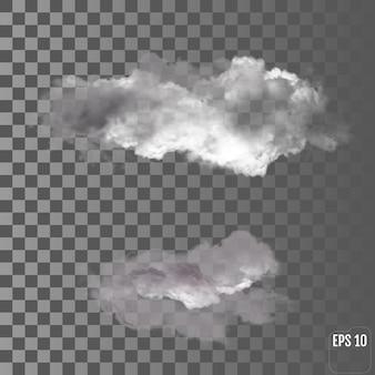 リアルな透明な雲。ベクトル嵐の雲。サンダークラウド。設定