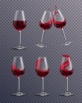 레드 와인으로 가득 찬 음주 안경의 현실적인 투명 컬렉션
