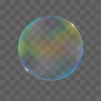 Realistic transparent colorful custom bubble with reflection of joyous, isolated on a checkered tone.