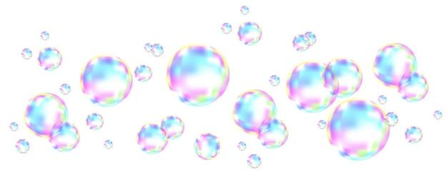 Реалистичные прозрачные красочные мыльные пузыри с отражением радуги, изолированные на клетчатом фоне. векторная текстура.