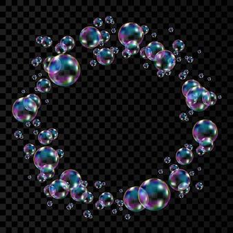 Реалистичные прозрачные красочные мыльные пузыри