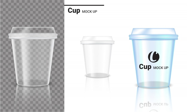 Realistic transparent cup plastic packaging product and logo design