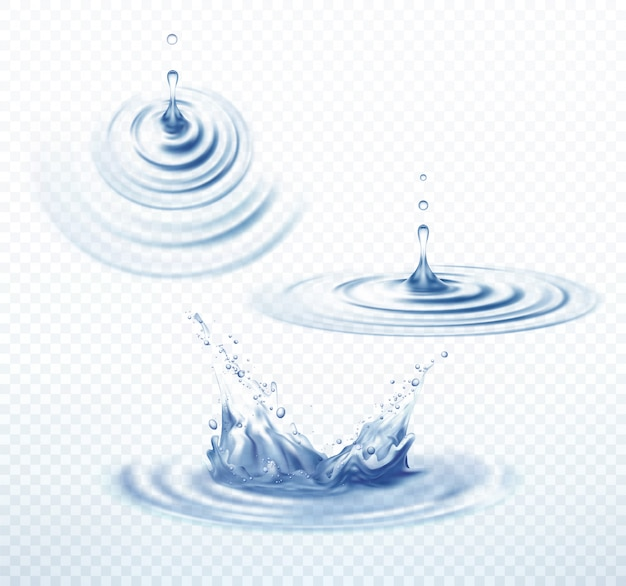 Realistic transparent drop and circle ripples set on isolated background.  illustration