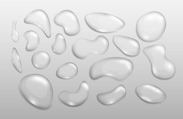 Реалистичные прозрачные капли воды различной формы. тема влажность и прозрачность. набор пузырьков конденсата или реалистичной капли, элемента h2o и влажных брызг.