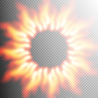 Realistic transparent fire flame frame.