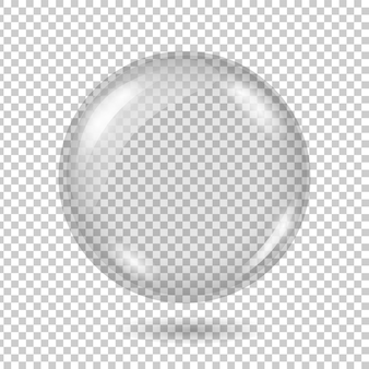 Realistic transparent glass ball or sphere with shadow on a plaid backgraund.