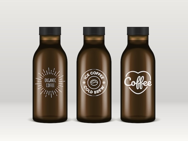 Realistic transparent glass bottles of ice coffee