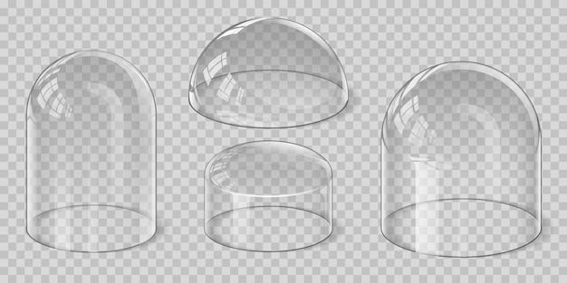 현실적인 투명 유리 돔 구형, 반구 및 종 모양. 보호 실드 및 디스플레이 스탠드 커버. 광택 쇼케이스 벡터 세트입니다. 주방 또는 전시용 안전 용기