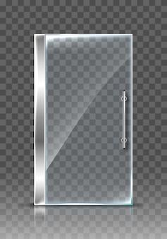 Realistic transparent glass door. isolated  modern transparent door