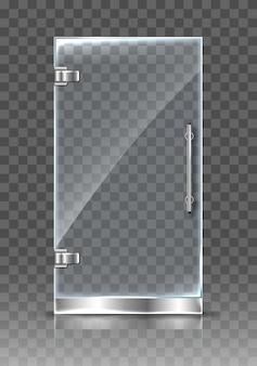 リアルな透明ガラス扉。孤立したモダンな透明なドア