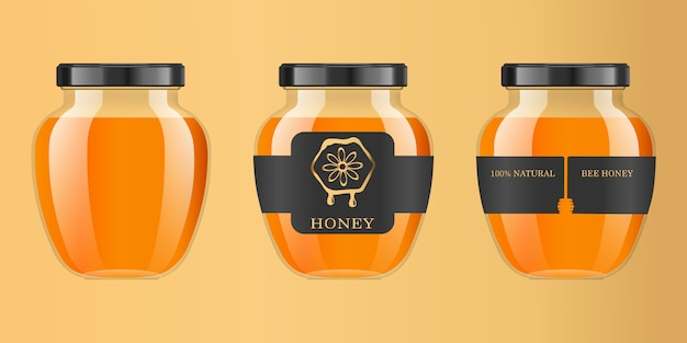 Realistic transparent glass jar with honey. food bank. honey packaging . honey logo.