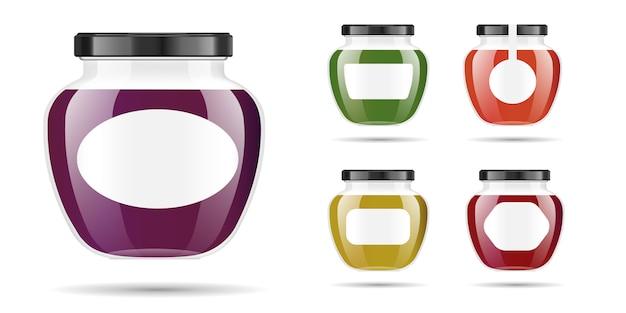 Реалистичная прозрачная стеклянная банка с вареньем, конфитюром или соусом.