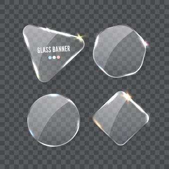 サンプルの背景に分離されたリアルな透明なガラスプレートの形状セット。テキスト用のスペースを持つwebバナーテンプレート