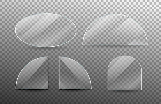 현실적인 투명 유리 창 세트입니다. 프리미엄 벡터
