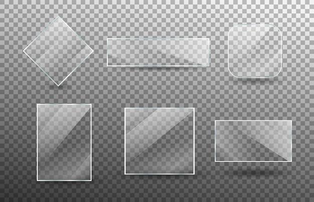 현실적인 투명 유리 창 세트입니다.