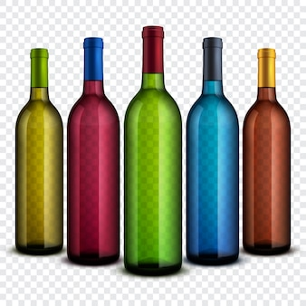 Realistic transparent glass wine bottles isolated on checkered background vector set.