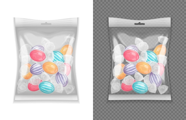 Realistic transparent lollypop candy package set isolated